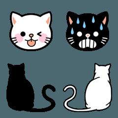 ◆白猫・黒猫◆シンプル絵文字_基本セット