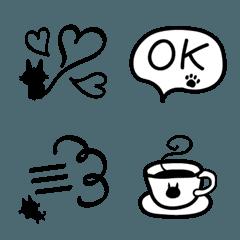 シンプル黒猫・使いやすい絵文字。