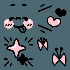 大人可愛いブラックピンクな絵文字.01