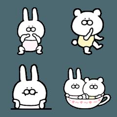 毎日使える♪可愛いウサギとクマの絵文字♥
