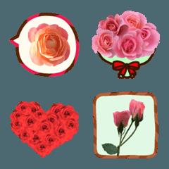 大人かわいいバラの花のシンプル絵文字