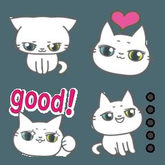 白猫・縁起良し!オッドアイの子猫絵文字。