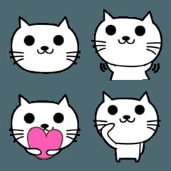 大人かわいい白ネコの絵文字 cat emoji