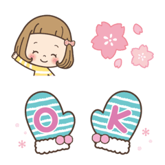 前髪短めな女の子の絵文字[冬〜春]