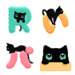 ふわふわデコ文字&黒猫