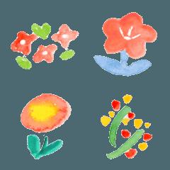 優しい水彩のお花絵文字