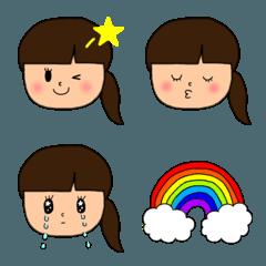 かわいい表情豊かな女の子のシンプル絵文字