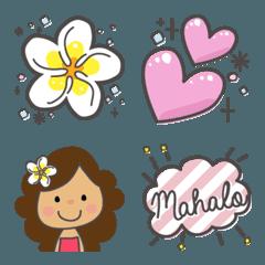 ハワイとフラガールちゃんの絵文字