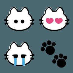 シンプル見やすい♫しろねこ顔絵文字