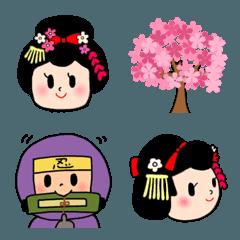 可愛い舞妓さんと、忍者、武将の絵文字