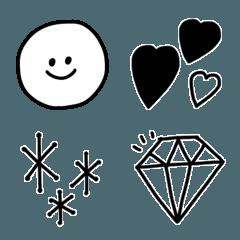 シンプル可愛いモノトーン絵文字♡4