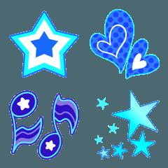 ハート・キラキラ・音符の絵文字3(青・白)