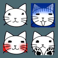 シンプルで変な顔の猫の顔文字の絵文字