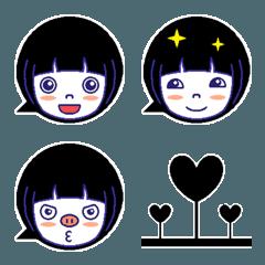 黒ふきだし絵文字■おかっぱな女の子編