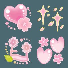 ハート・キラキラ・音符の絵文字4(桜)