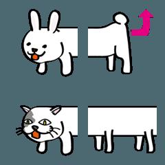 つながる白色のウサギとネコ