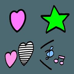 ハート と 星 がいっぱいの絵文字☺︎♡☆