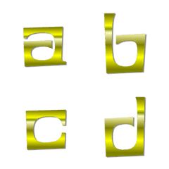 English Lowercase 3 - gold lithography