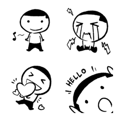 A flat head boy emoji stickers
