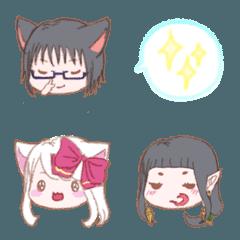 「黒狼さんと白猫ちゃん」クレヨン絵文字