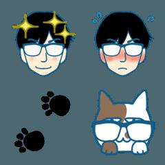メガネ男子とメガネ猫
