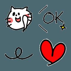 白猫と手書き風かわいい絵文字