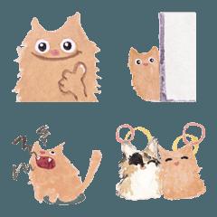 ロイヤルミルクティー色の猫 水彩画 絵文字