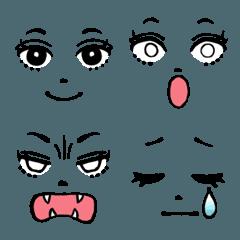 女の子の顔パーツ