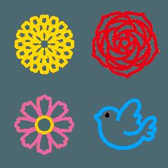 季節の花に小鳥を添えて