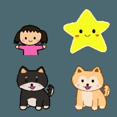 カワイイ絵文字♪スマイリー&子供&柴犬