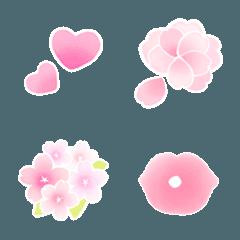 桜の花びらとハートの絵文字(デコ文字)