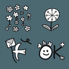 マリン55♡モノクロなお花やハートの絵文字