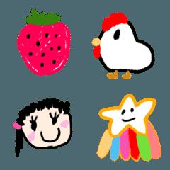 シュールでかわいい子どもの絵風絵文字(7)
