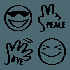 手書き風⭐️モノクロ絵文字2