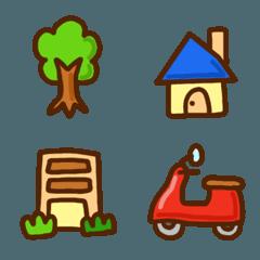 木とか家とか乗り物とか