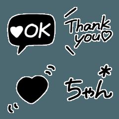 シンプル可愛いモノトーン絵文字♡2.1