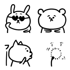 大きめの白い動物たちの絵文字