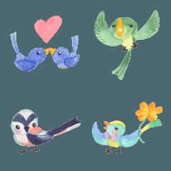 小鳥と小さな花