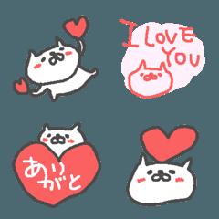 ネコちゃんのハート祭り絵文字