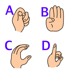 Sign language alphabet ABC and numbers