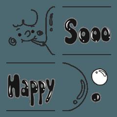シンプル&モノクロ シャボン玉メッセージ