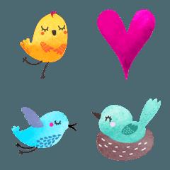 鳥の花模様