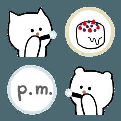 しゃぼん玉えもじ(白いネコとクマ)
