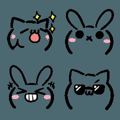 ねことうさぎの顔文字風・絵文字2