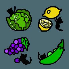 猫と野菜と果物