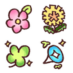 かわいいお花の絵文字10(クレヨン風)