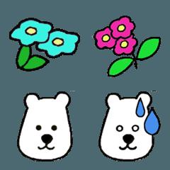 お花畑と白クマの表情