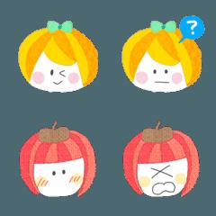 みかんちゃんとりんごちゃんの顔絵文字