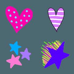 ハートと星のカラフル絵文字