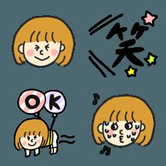 ぱっつんボーダーの女の子♡pocaママ絵文字